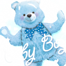 "Baby Blue Bear Double Bubble Balloon (24"") 1pc"